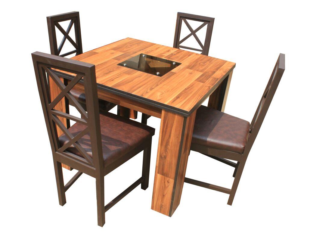 Alvar Mix; 4 Seater Dining Set(Teak)