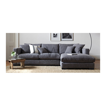 Sasa series L-shaped Couch; Dark-grey