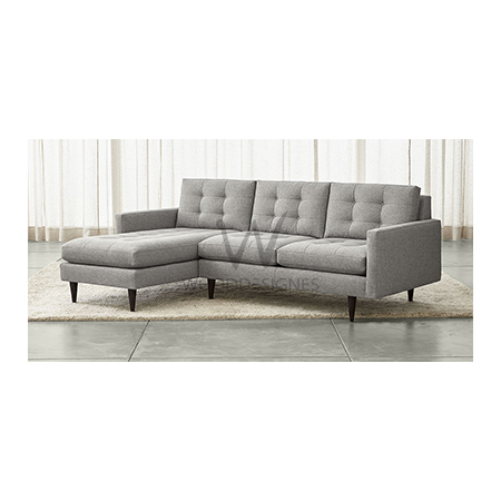 Light Grey L-shaped Couch with Buttons