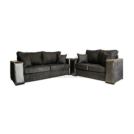 Adiza series 7 seater fabric and leather sofa black for Leather sofa 7 seater