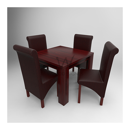 Amon Deluxe Series; 4 Seater Dining Set (Red Brown)