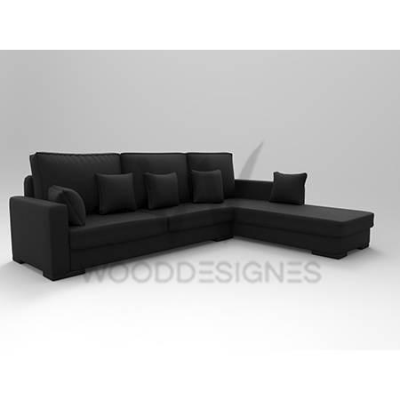 Sasa Series L-Shaped Sofa (Black) – wooddesignes