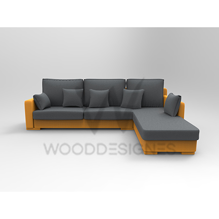 Sasa Series L-Shaped Sofa (Grey and Yellow)