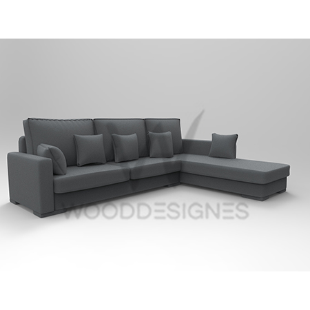 Sasa Series L-Shaped Sofa (Grey)